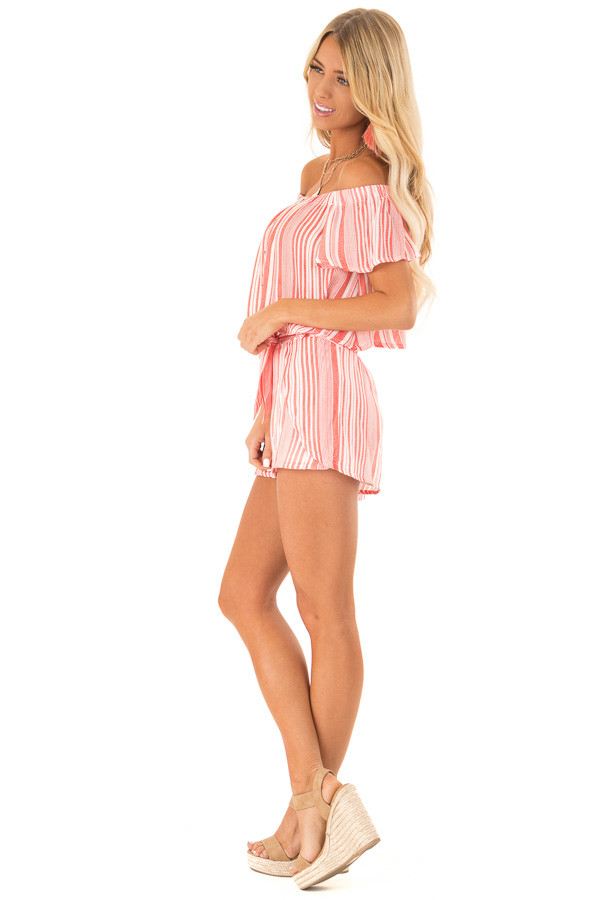 Coral Striped Off the Shoulder Top and Shorts Two Piece Set side full body