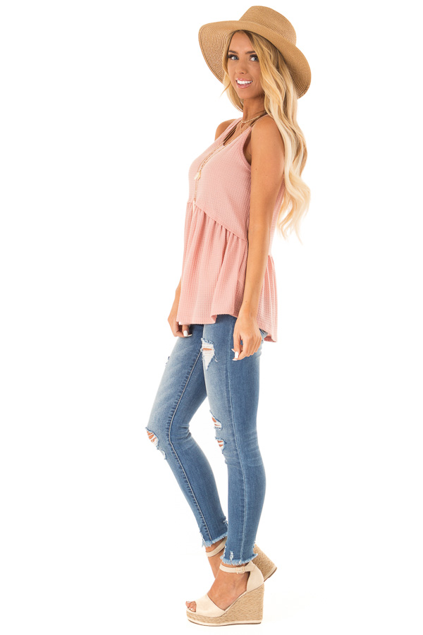 Light Salmon Babydoll Tank Top side full body