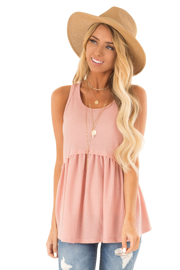 Light Salmon Babydoll Tank Top front close up