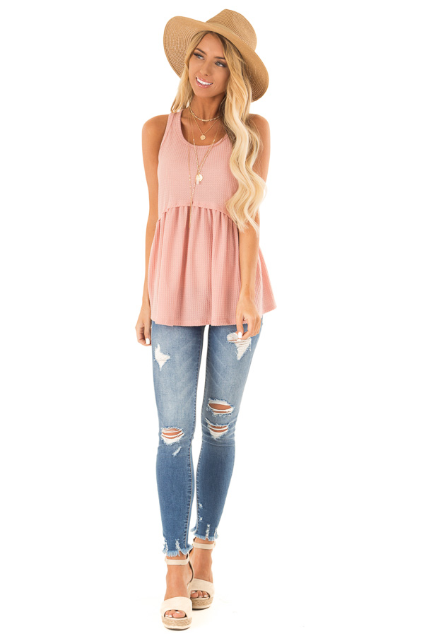 Light Salmon Babydoll Tank Top front full body