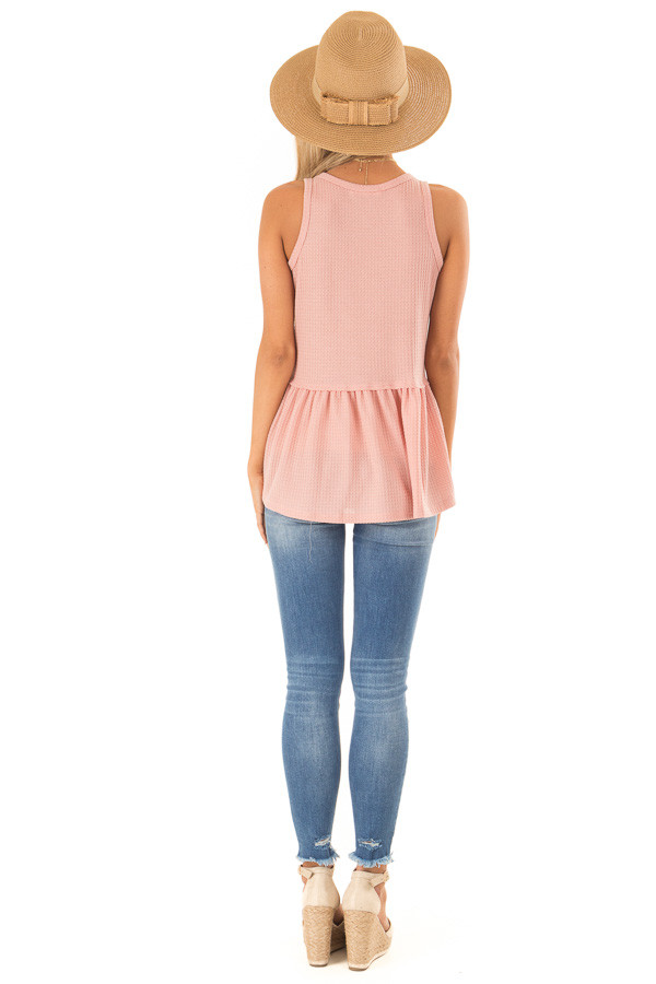 Light Salmon Babydoll Tank Top back full body