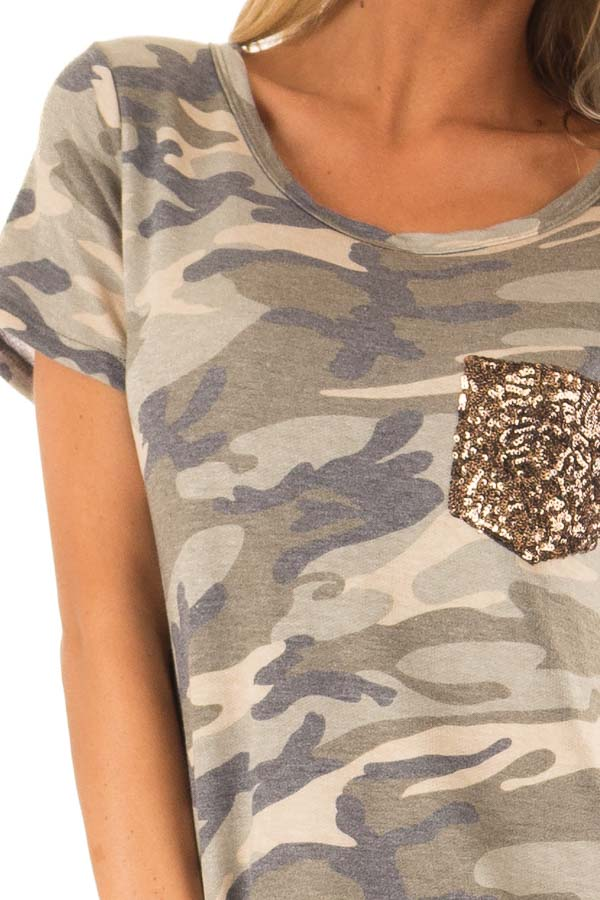 Olive Green Camo Print Top with Bronze Sequin Pocket detail