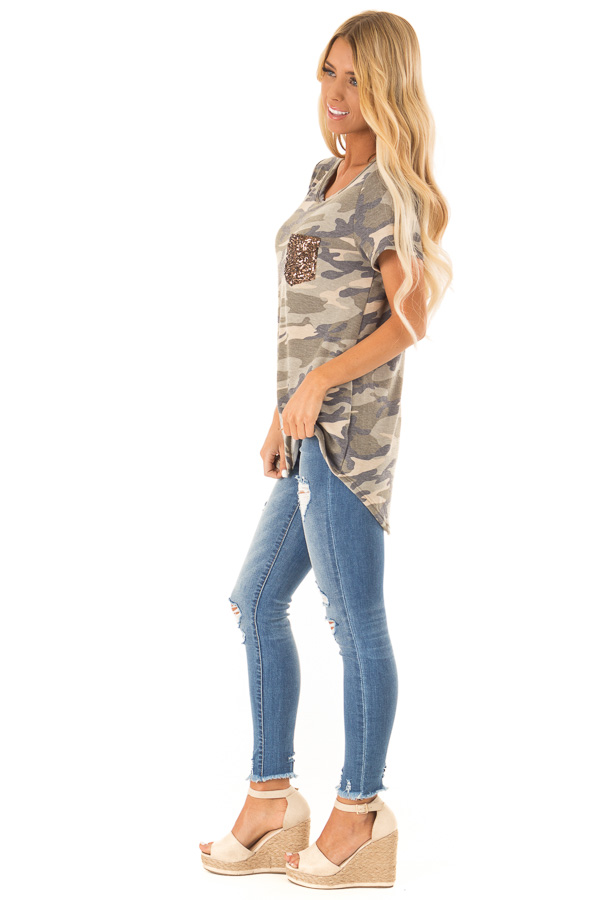 Olive Green Camo Print Top with Bronze Sequin Pocket side full body