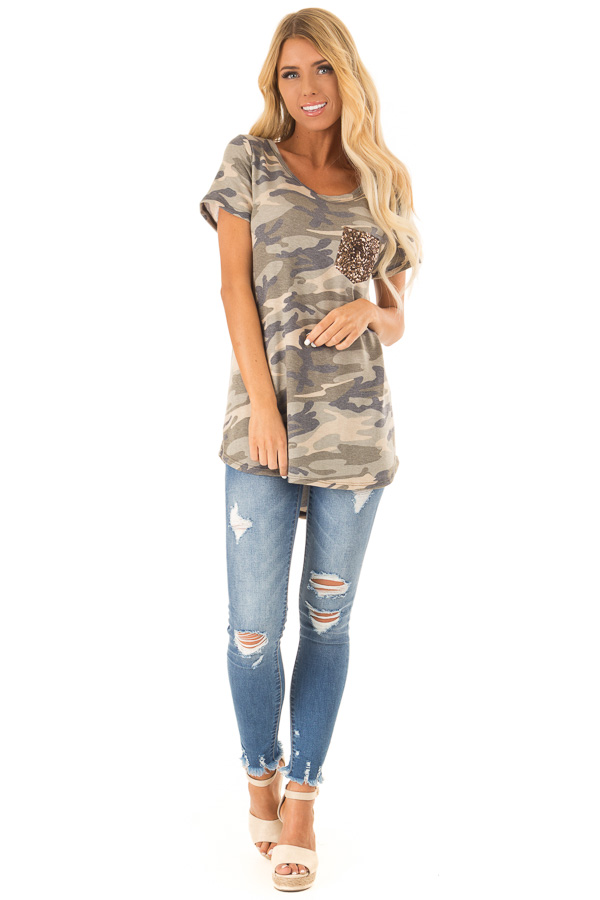 Olive Green Camo Print Top with Bronze Sequin Pocket front full body