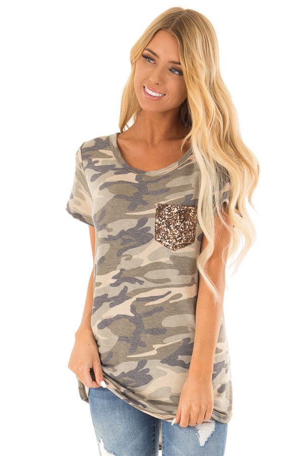 Olive Green Camo Print Top with Bronze Sequin Pocket front close up