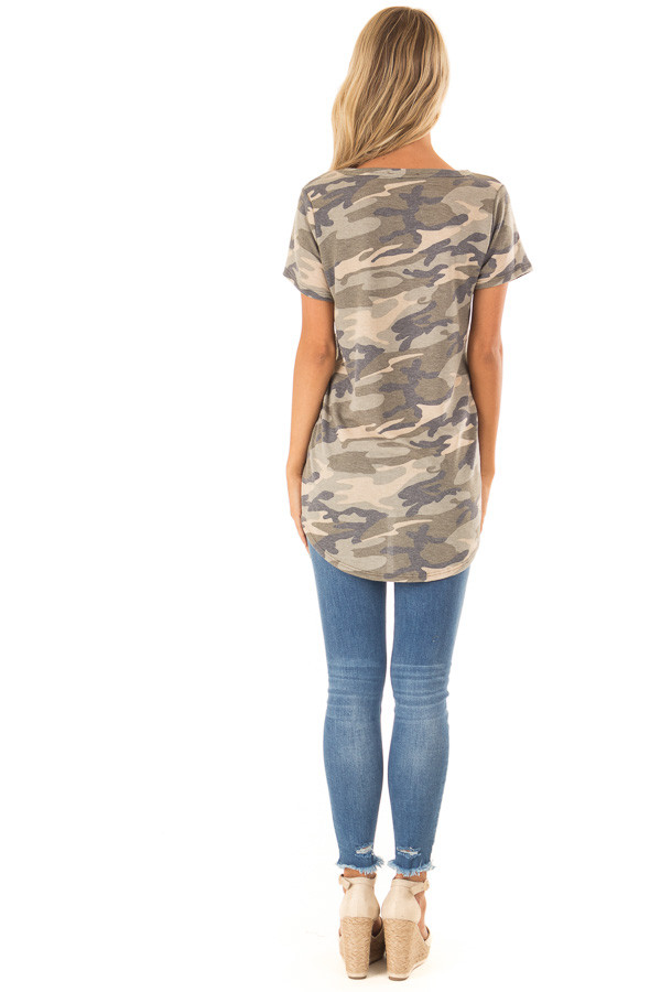 Olive Green Camo Print Top with Bronze Sequin Pocket back full body
