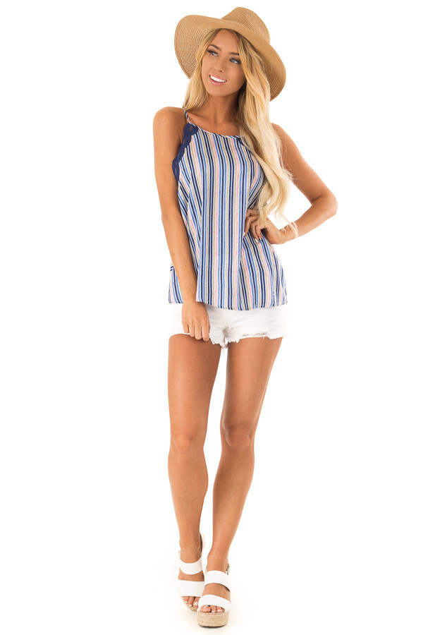 Sapphire Blue Multicolor Striped Tank Top with Lace Trim front full body