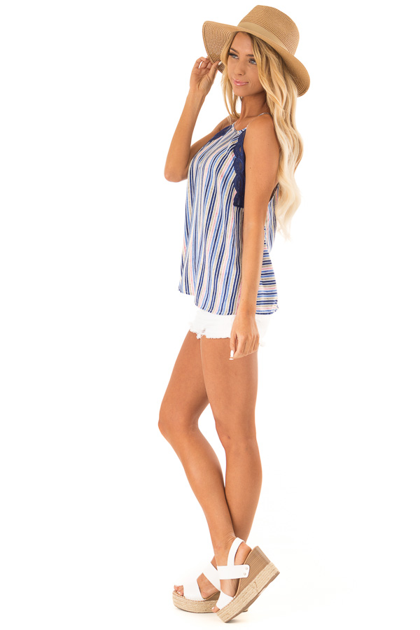 Sapphire Blue Multicolor Striped Tank Top with Lace Trim side full body
