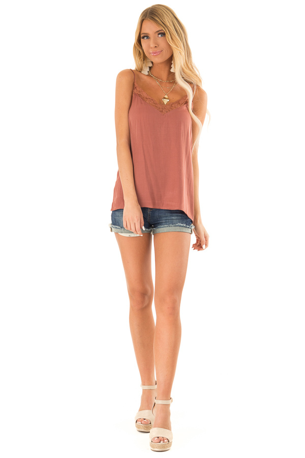 Faded Amber V Neck Tank Top with Lace Detail front full body