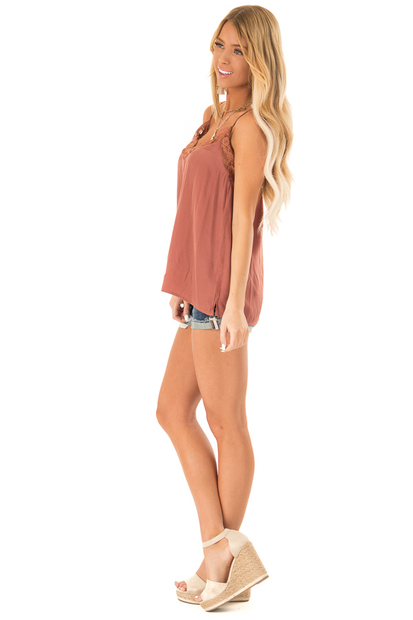 Faded Amber V Neck Tank Top with Lace Detail side full body