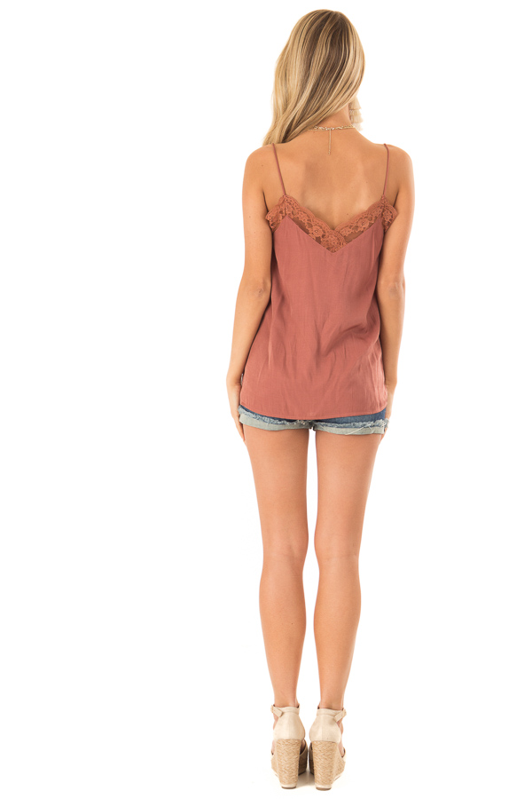 Faded Amber V Neck Tank Top with Lace Detail back full body