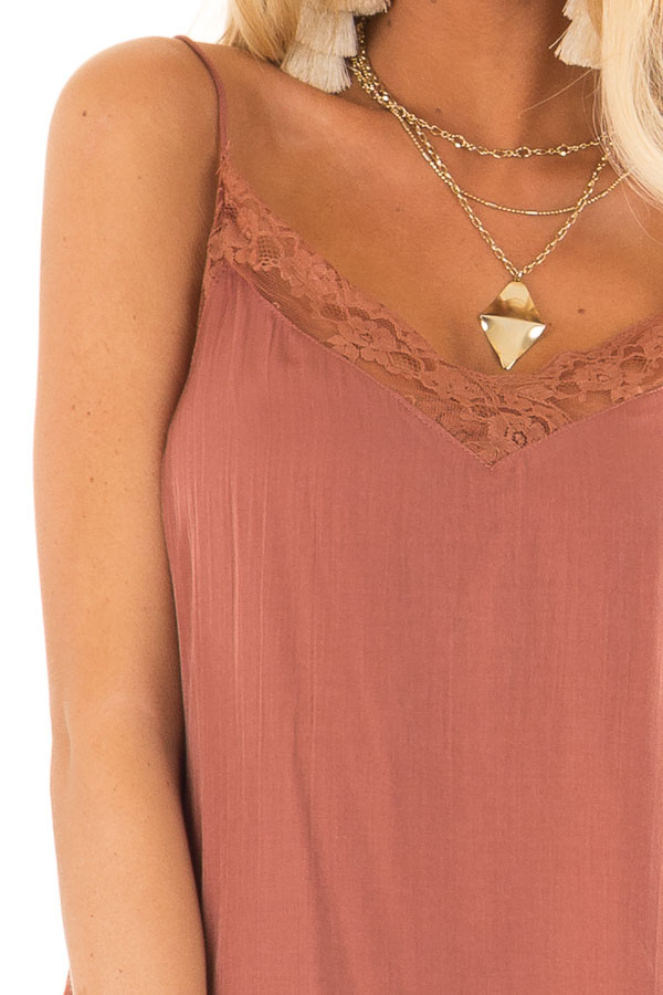 Faded Amber V Neck Tank Top with Lace Detail detail