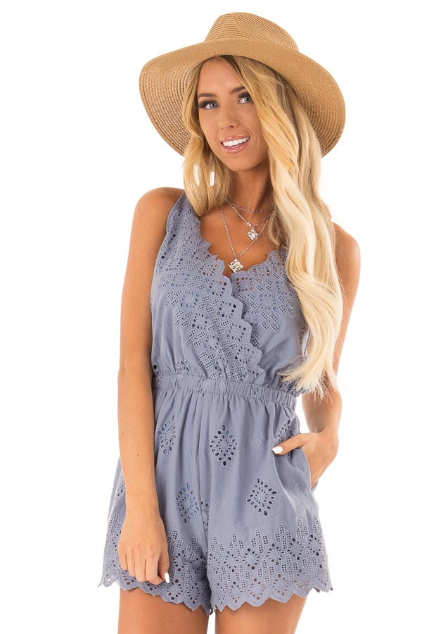 Faded Blue V Neck Sleeveless Romper with Eyelet Detail front close up
