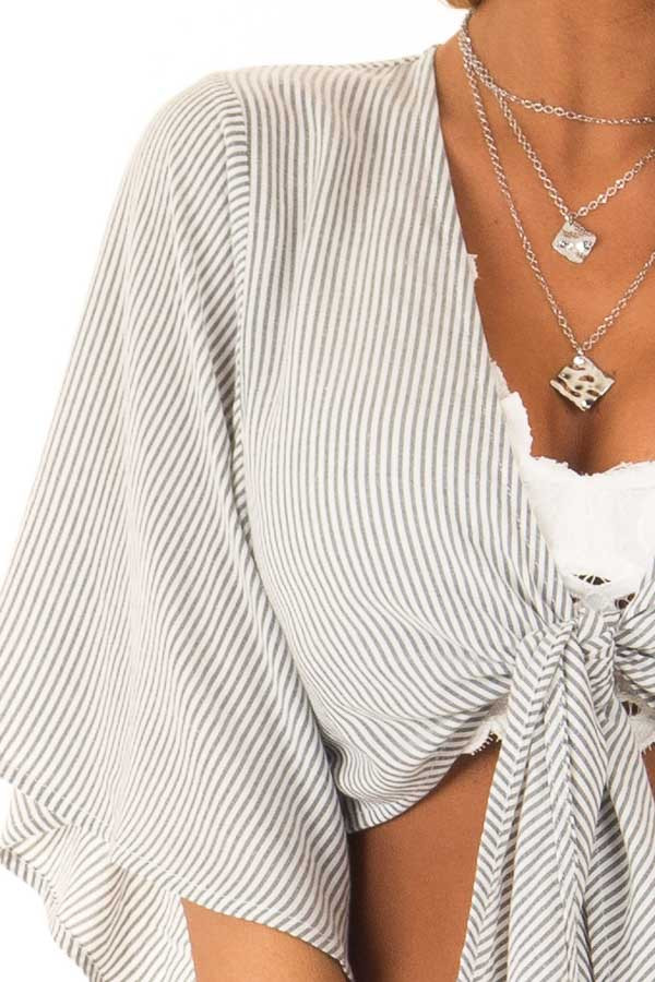 Charcoal and Ivory Pinstriped Crop Top with Front Tie Detail detail