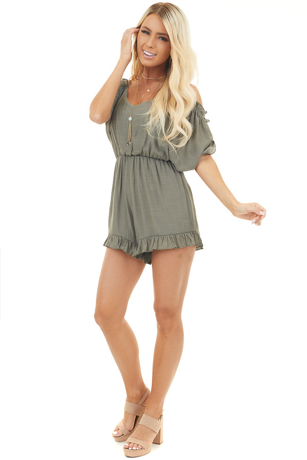 Olive Cold Shoulder Open Tie Back Romper with Ruffles