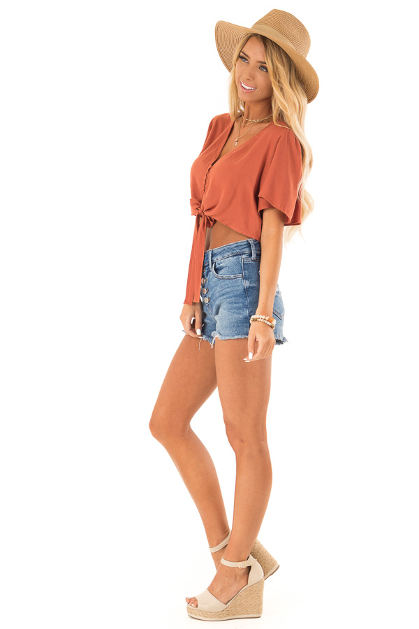 Burnt Orange Short Sleeve V Neck Button Up Crop Top with Tie side full body