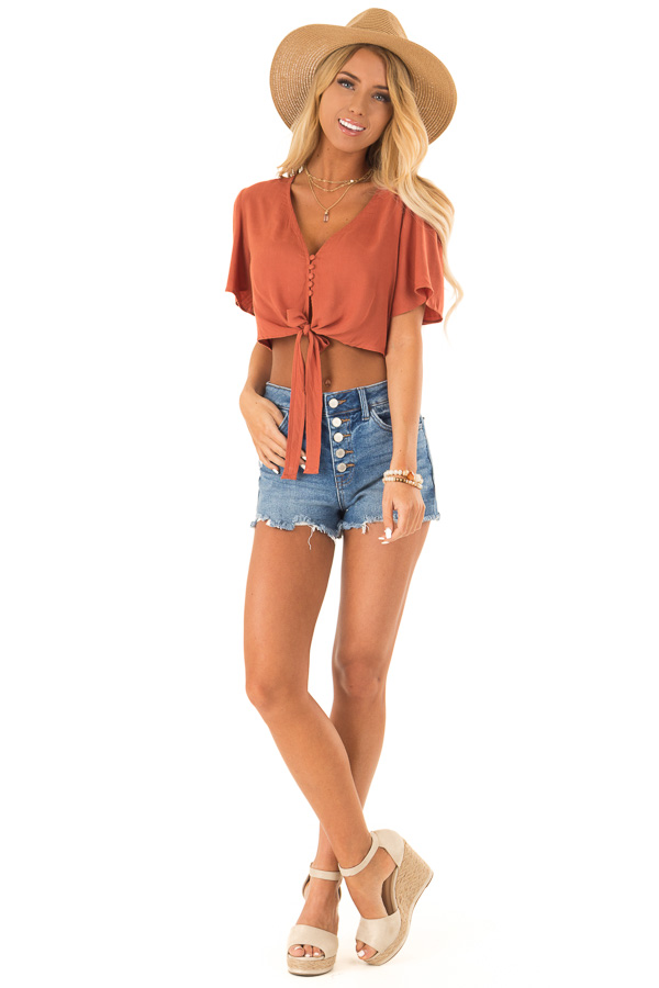 Burnt Orange Short Sleeve V Neck Button Up Crop Top with Tie front full body