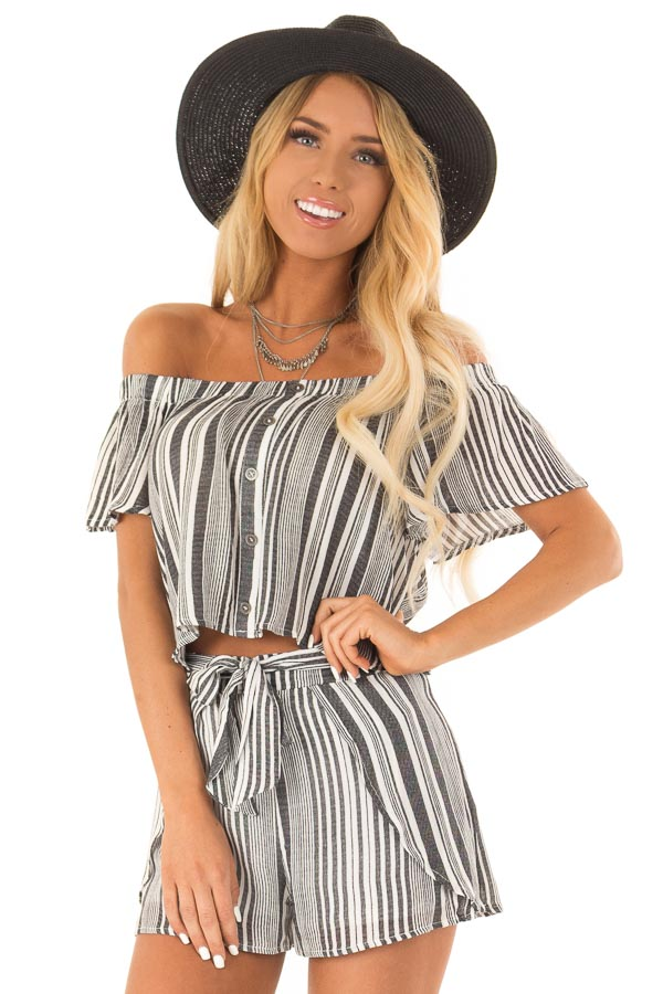 Coal Striped Off the Shoulder Top and Shorts Two Piece Set front close up