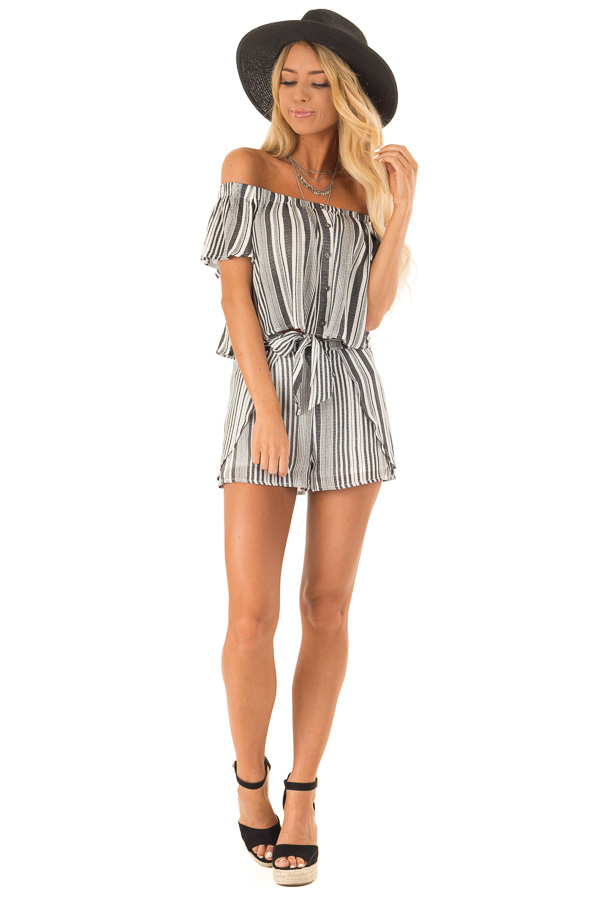 Coal Striped Off the Shoulder Top and Shorts Two Piece Set front full body
