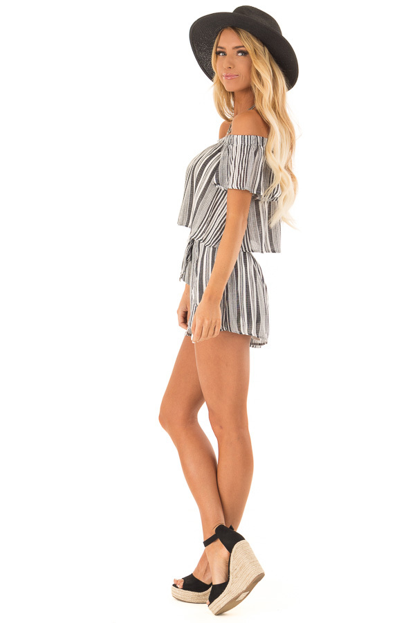 Coal Striped Off the Shoulder Top and Shorts Two Piece Set side full body