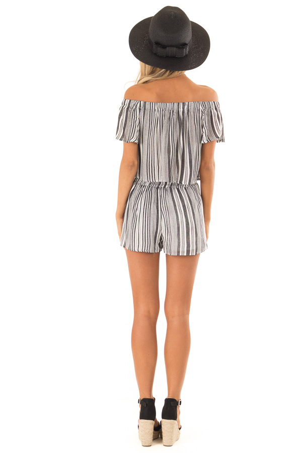 Coal Striped Off the Shoulder Top and Shorts Two Piece Set back full body