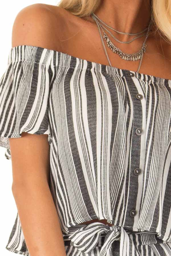 Coal Striped Off the Shoulder Top and Shorts Two Piece Set detail