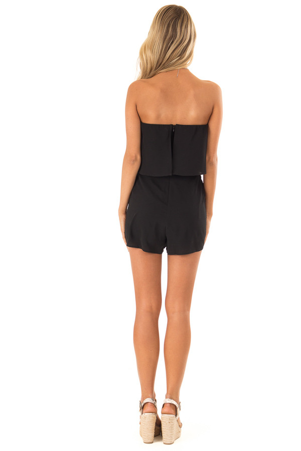 Obsidian Sleeveless Romper with Ruffle Overlay and Pockets back full body