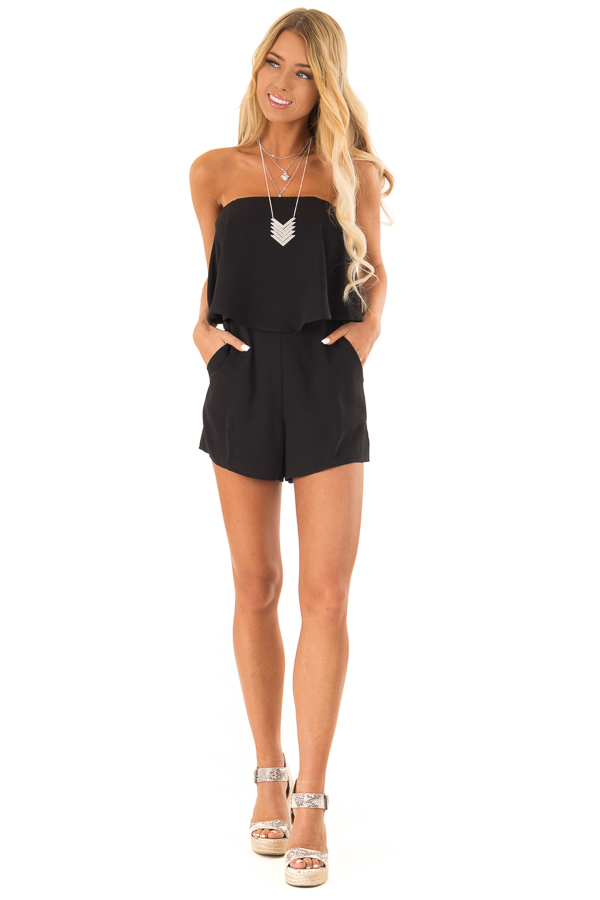 Obsidian Sleeveless Romper with Ruffle Overlay and Pockets front full body