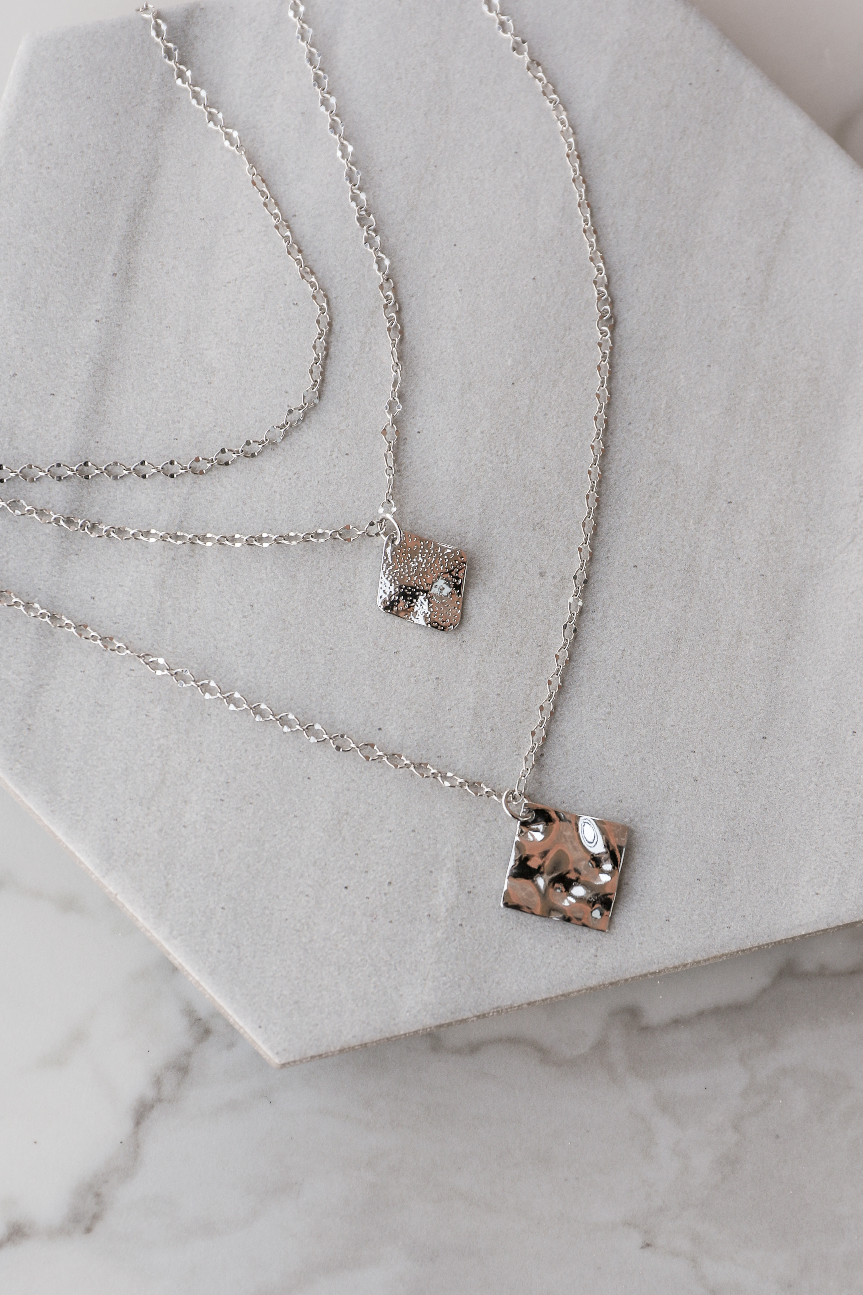 Silver Layered Necklace with Textured Square Pendants