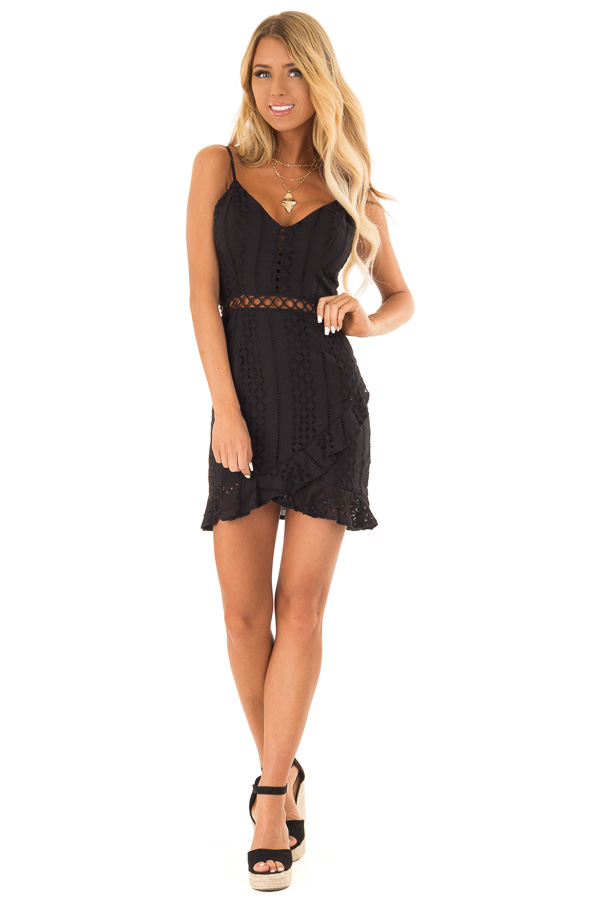 Midnight Black Eyelet Lace Cami Dress with Tulip Hem front full body