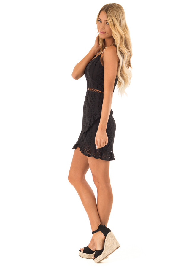 Midnight Black Eyelet Lace Cami Dress with Tulip Hem side full body