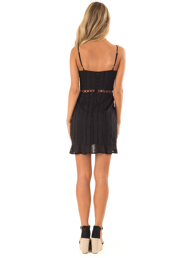 Midnight Black Eyelet Lace Cami Dress with Tulip Hem back full body