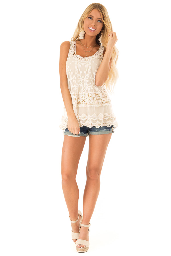 Ivory Detailed Sheer Lace Flowy Tank Top front full body