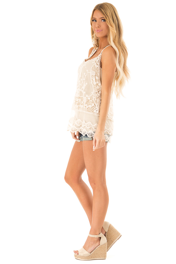 Ivory Detailed Sheer Lace Flowy Tank Top side full body
