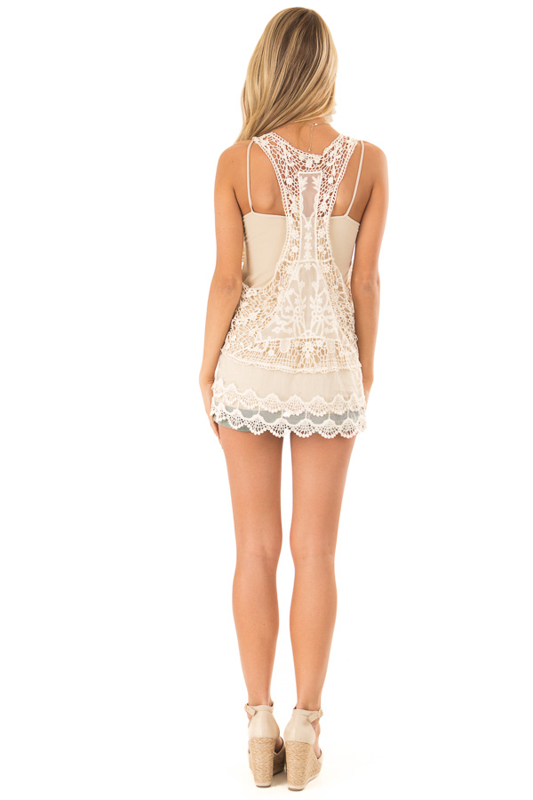 Ivory Detailed Sheer Lace Flowy Tank Top back full body