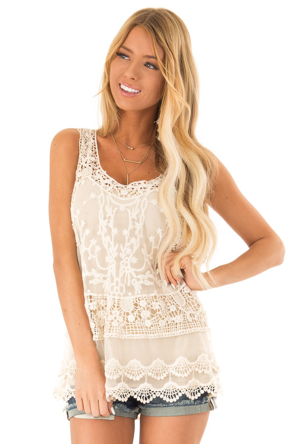 Ivory Detailed Sheer Lace Flowy Tank Top front close up