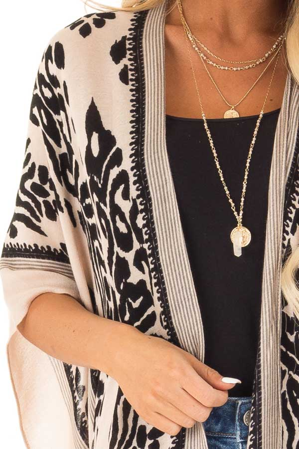 Ebony and Tan Damask Print Kimono with Black Pom Pom Trim detail
