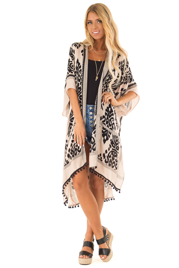 Ebony and Tan Damask Print Kimono with Black Pom Pom Trim front full body