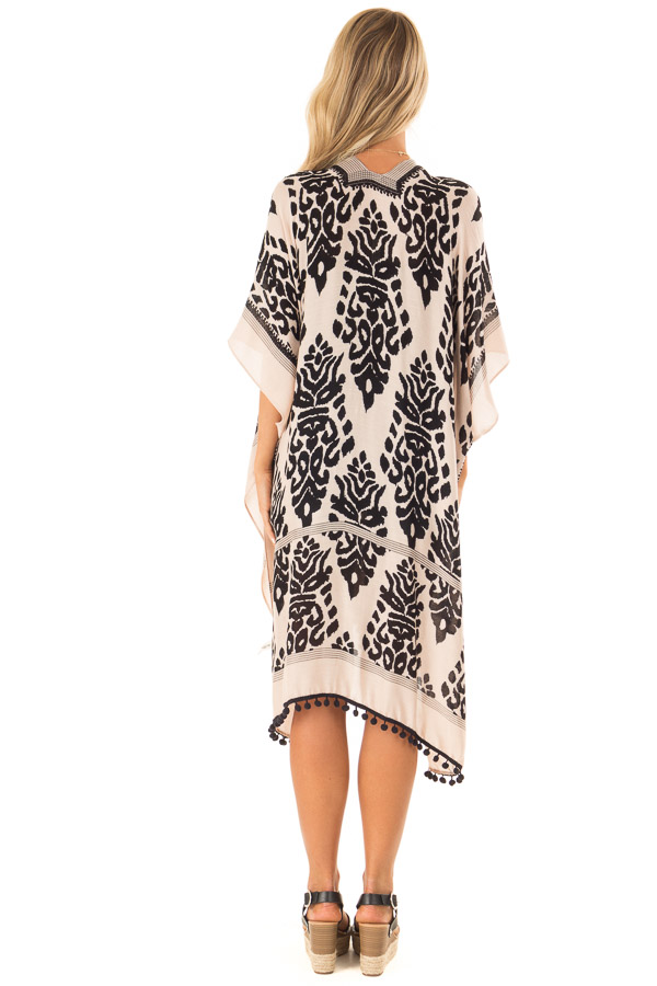 Ebony and Tan Damask Print Kimono with Black Pom Pom Trim back full body