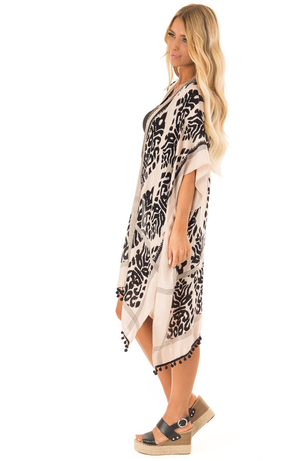 Ebony and Tan Damask Print Kimono with Black Pom Pom Trim side full body