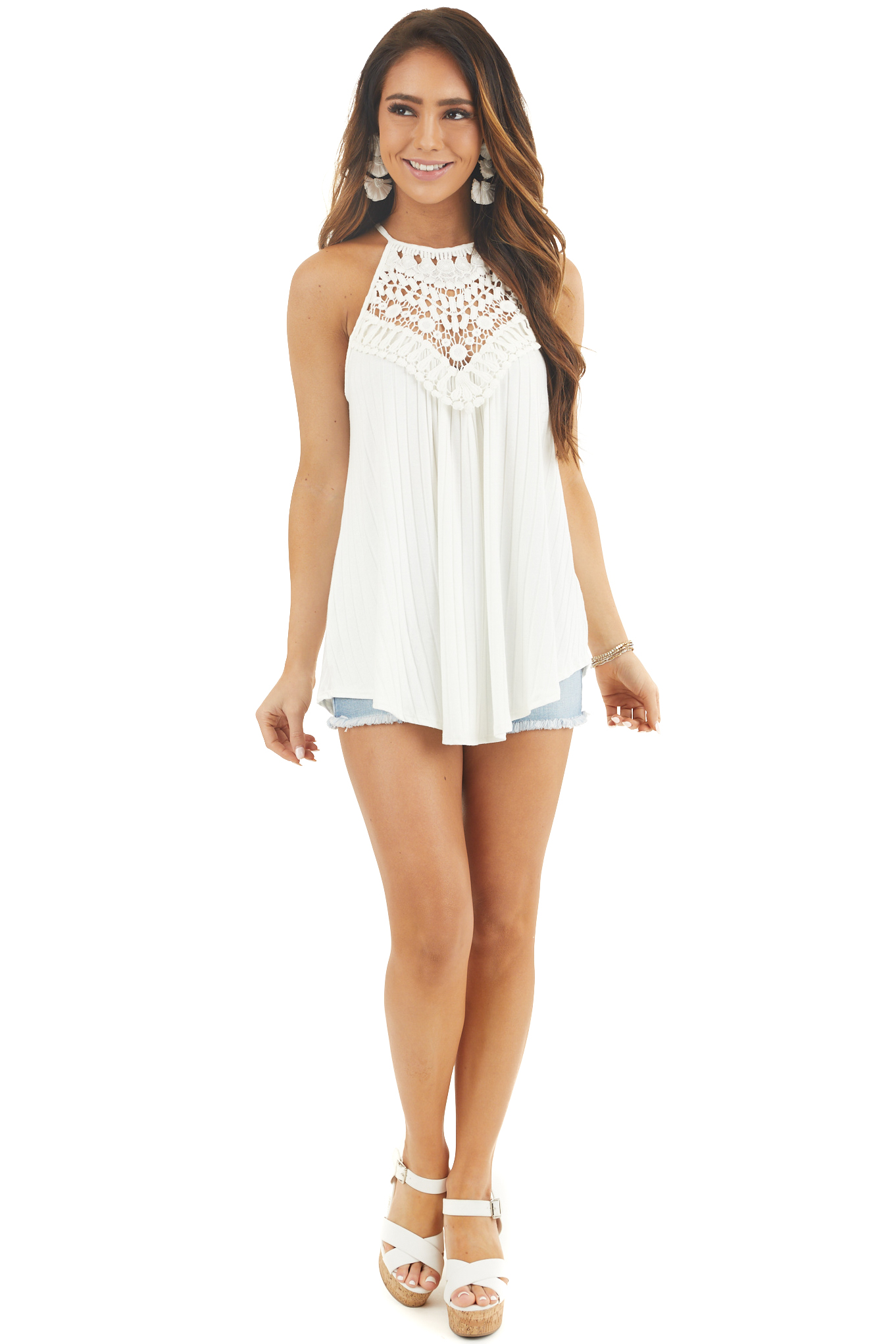 Pearl Sleeveless Halter Tank Top with Crochet Details