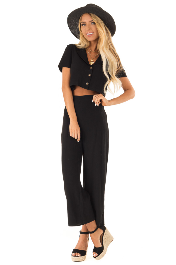Black Cropped Button Up Top and Wide Leg Pant Two Piece Set front full body