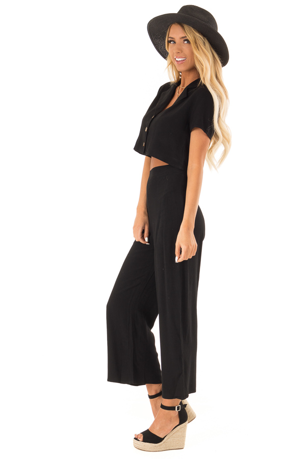 Black Cropped Button Up Top and Wide Leg Pant Two Piece Set side full body