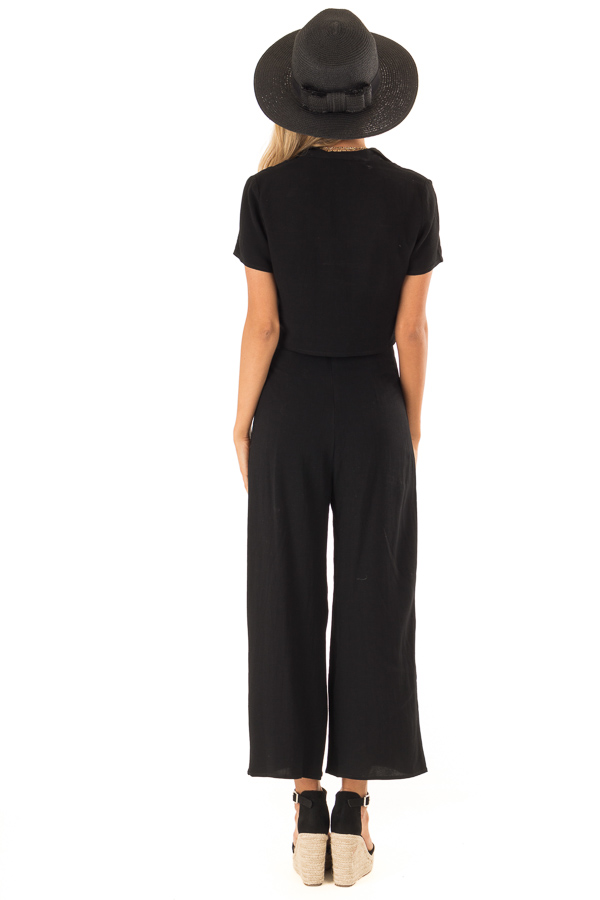 Black Cropped Button Up Top and Wide Leg Pant Two Piece Set back full body