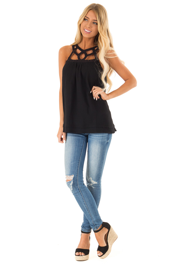 Ebony Trapeze Tank Top with Asymmetric Crocheted Cutouts front full body