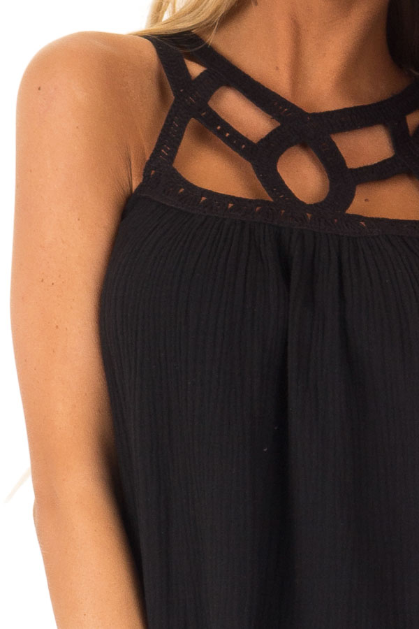 Ebony Trapeze Tank Top with Asymmetric Crocheted Cutouts detail