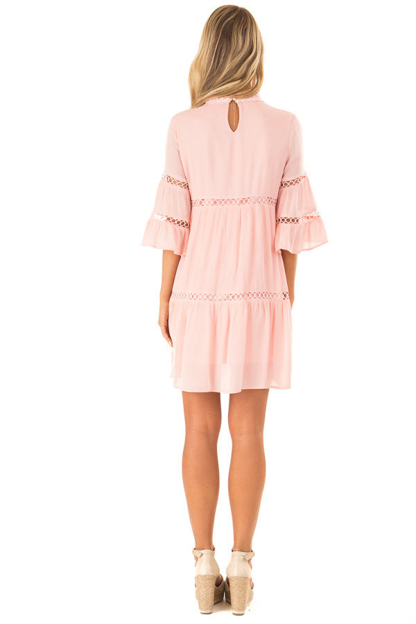 Bubble Gum Pink Mock Neck Dress with Lace Details back full body