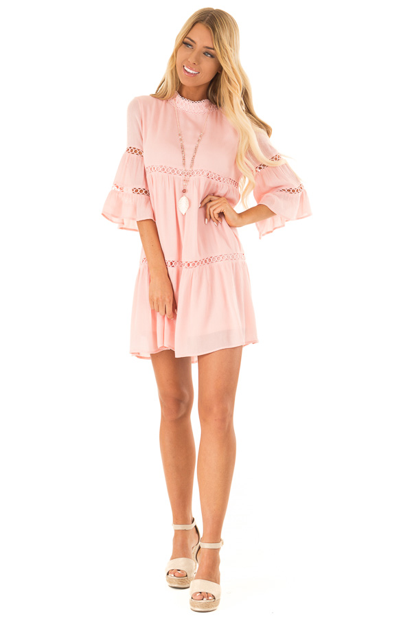 Bubble Gum Pink Mock Neck Dress with Lace Details front full body