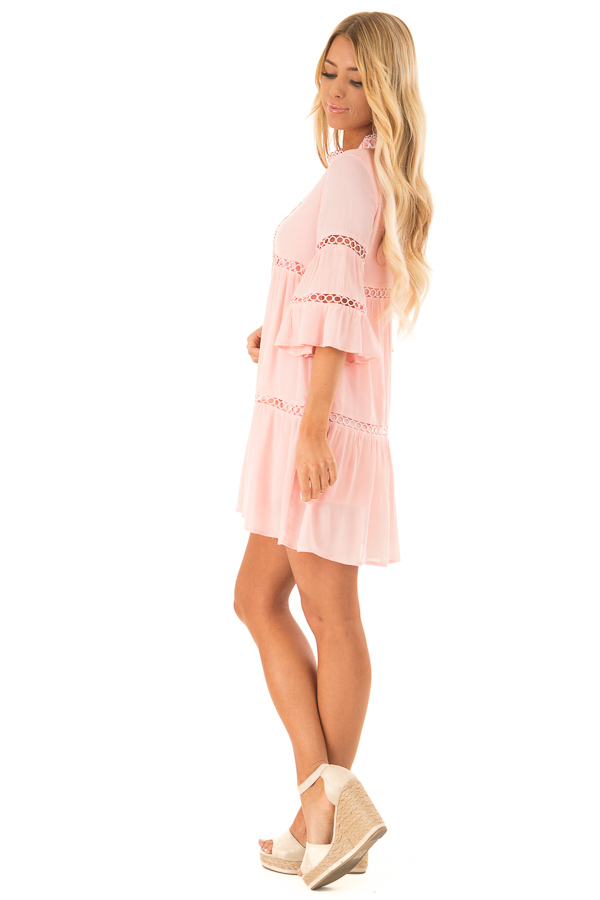 Bubble Gum Pink Mock Neck Dress with Lace Details side full body