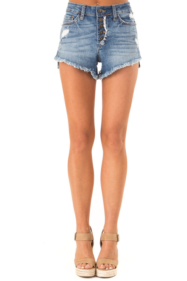 Faded Navy Distressed Button Up Denim Shorts with Pockets front view